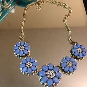 NWOT J.Crew Blue and Gold Jeweled Flower Necklace